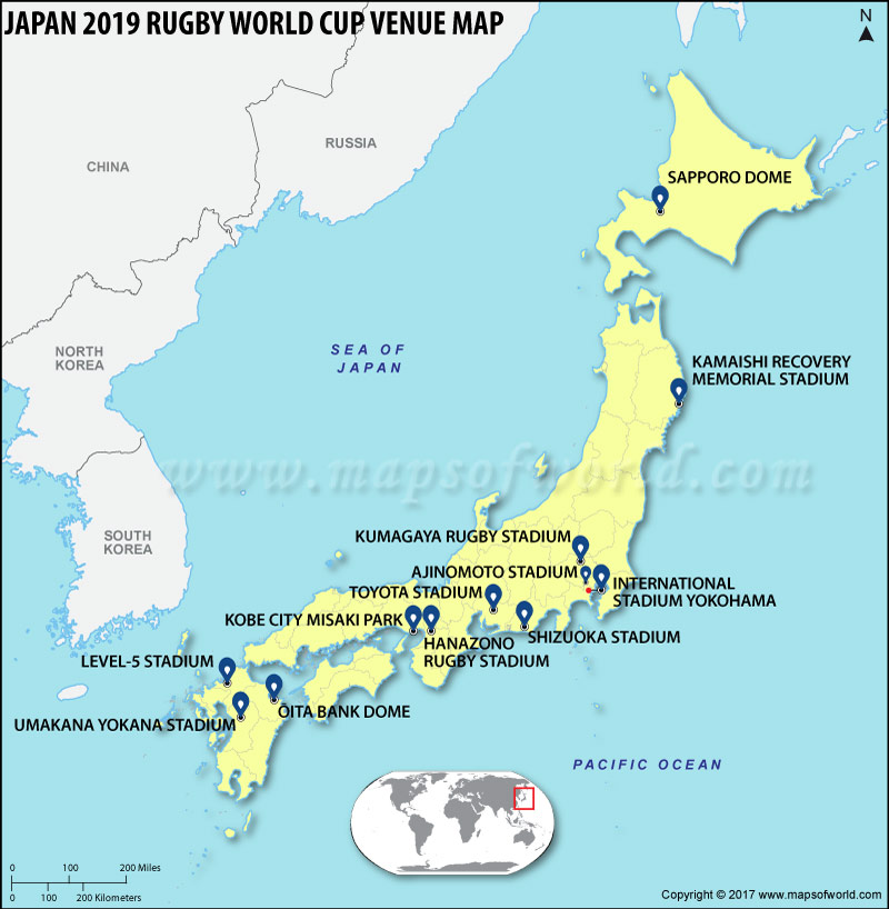 Japan 2019 Rugby World Cup Venues Map Rugby World Cup 2019 Stadiums