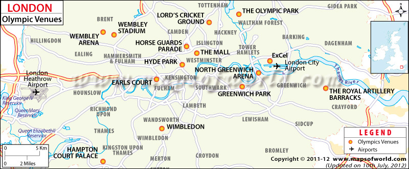 London Olympics Venue Map
