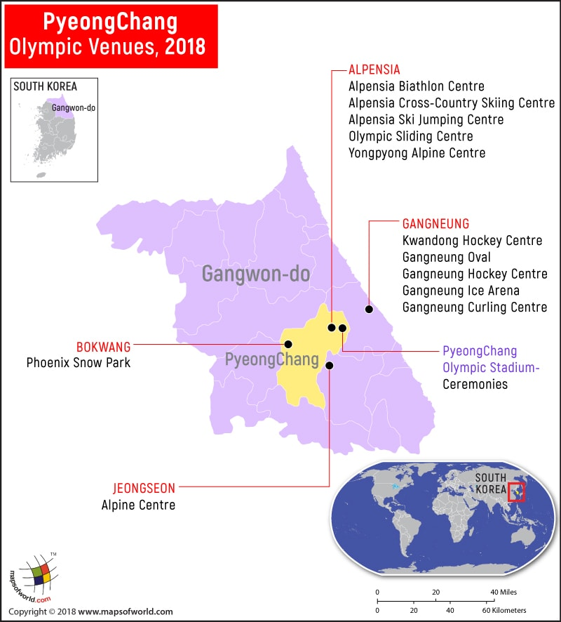 2018 PyeongChang Winter Olympics Venue Map