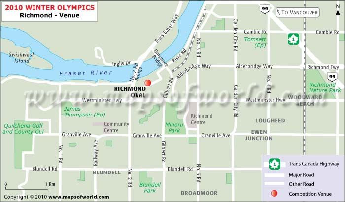 Richmond Olympics Venues Map