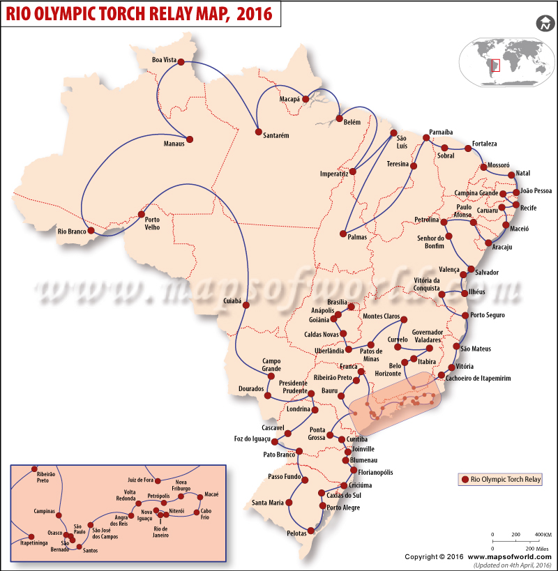 Summer Olympics Torch Relay Route Map