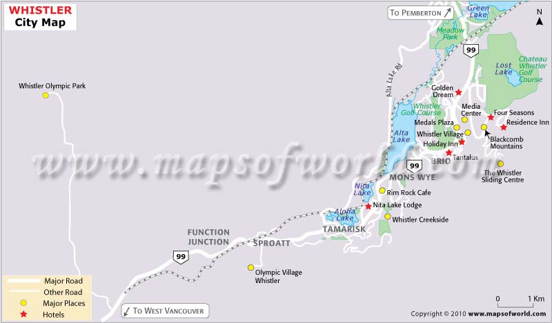 Whistler City Important Places Map
