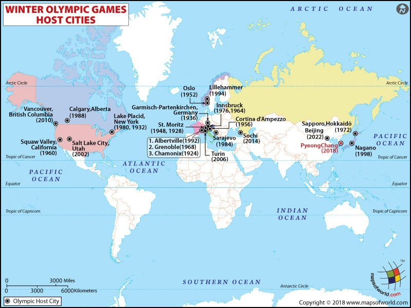 Winter 2018 Olympics Map Showing Host Cities Of Winter Olympic Games