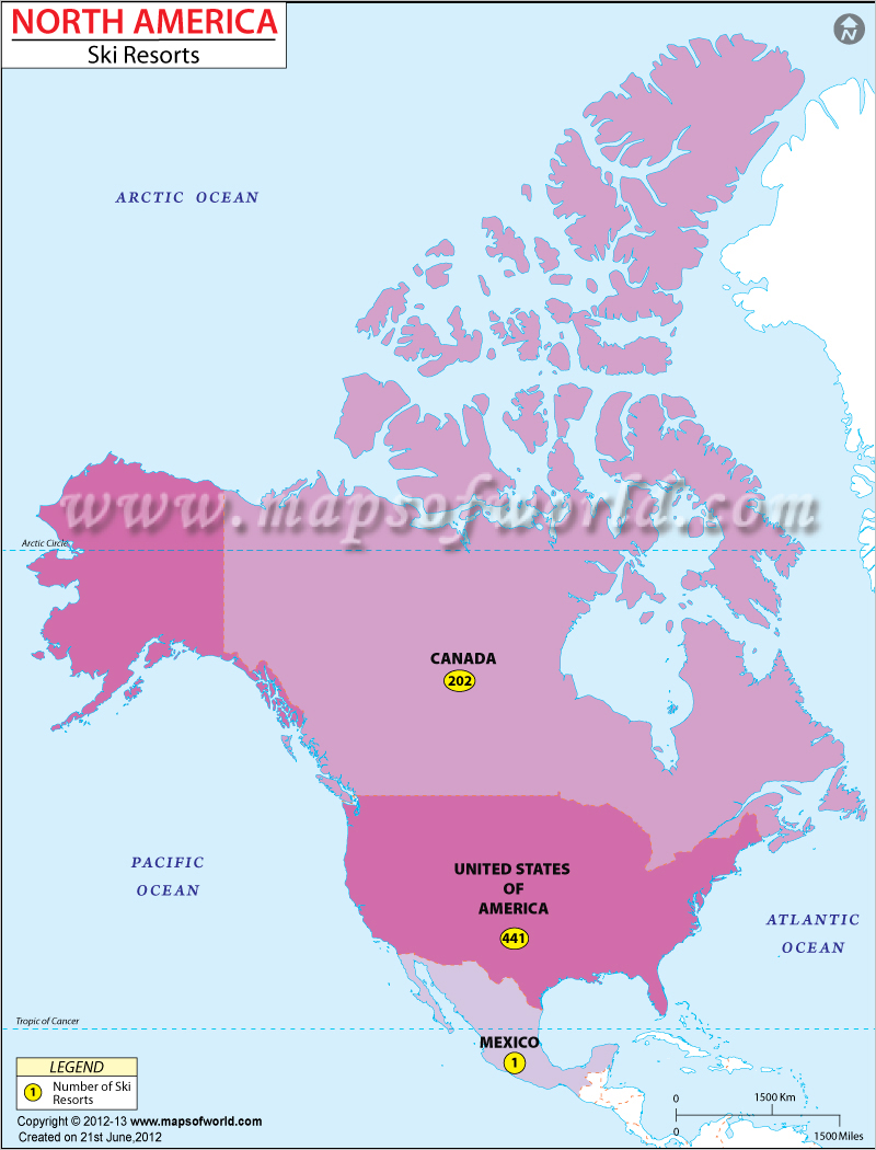 North America Ski Resorts Map