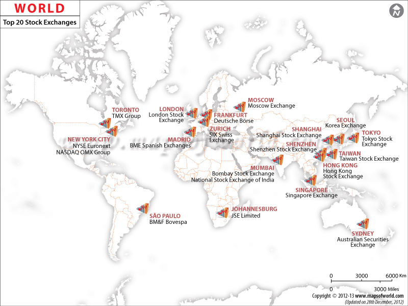 Worldwide Stock Exchanges Map