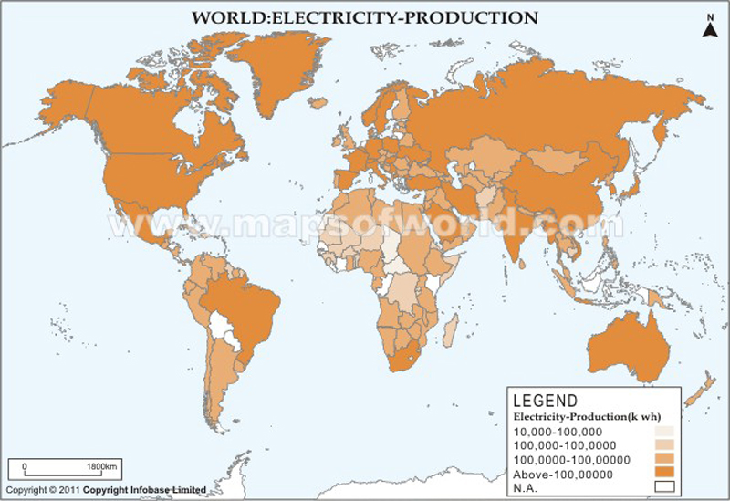 World Electricity Production Map