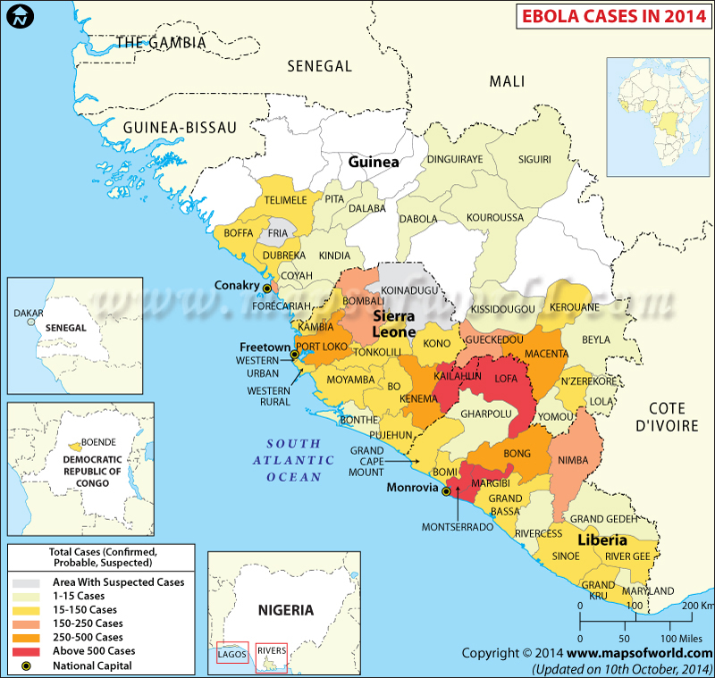Map of Areas Affected by Ebola Virus