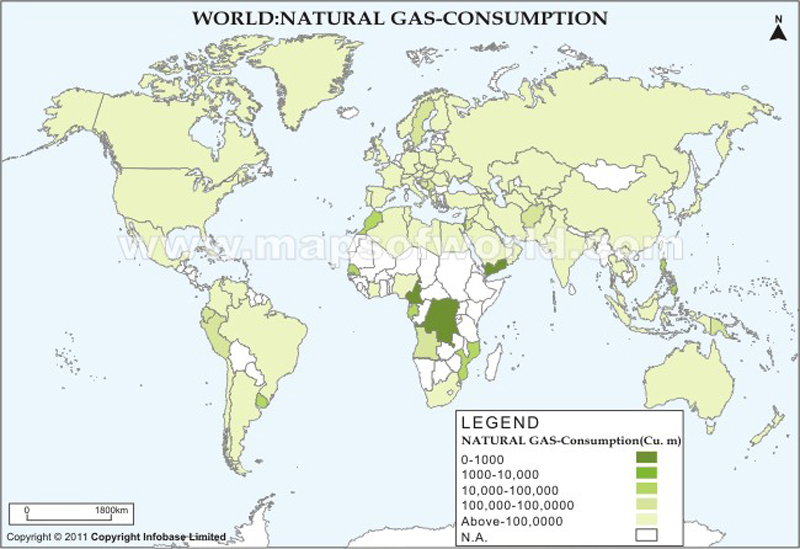 World Natural Gas Consumption Map