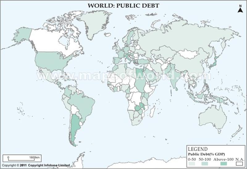 World Public Debt Map