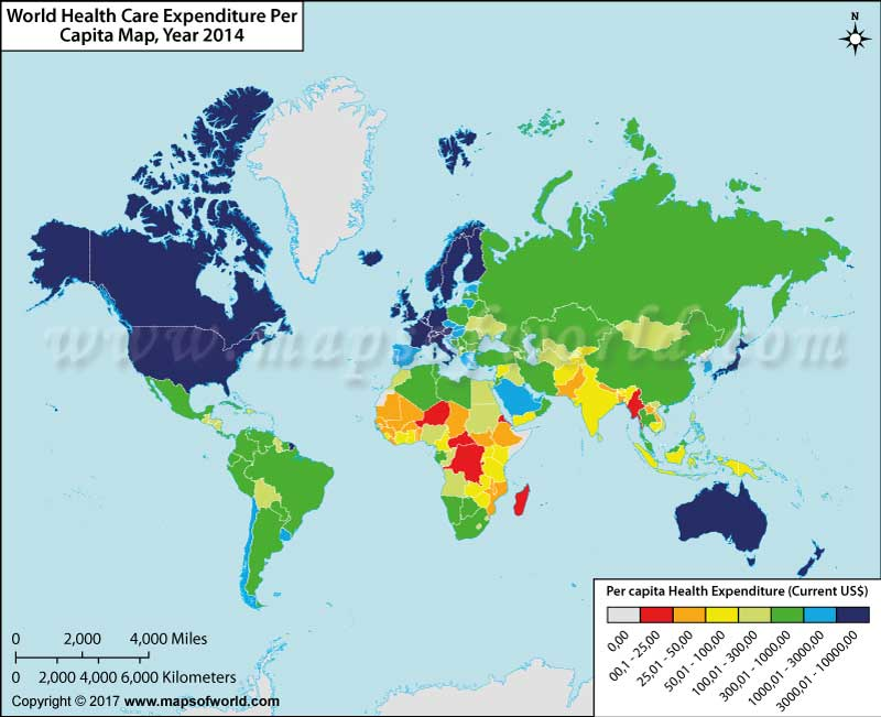 World Health Care Expenditure Per Capita Map