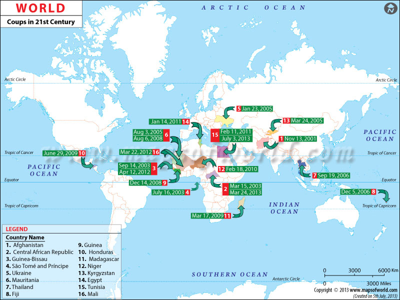 World Coups Map