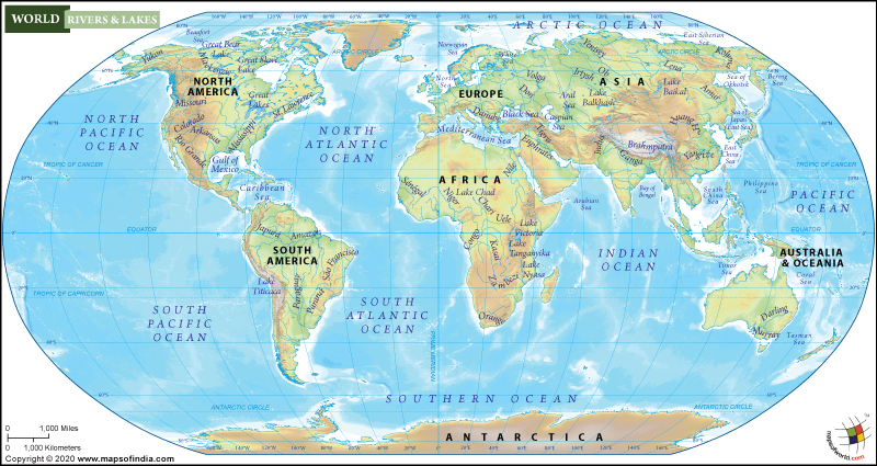 World Map Of Rivers World River Map, World Map With Major Rivers and Lakes