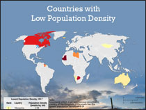 What countries have low population density?