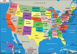 US States and Capitals Map
