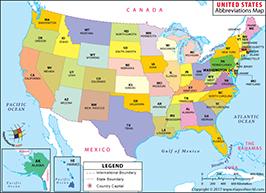 US 50 States Abbreviation Map