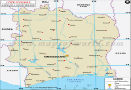 Cote d'Ivoire Lat Long Map