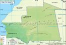 Physical Map of Mauritania