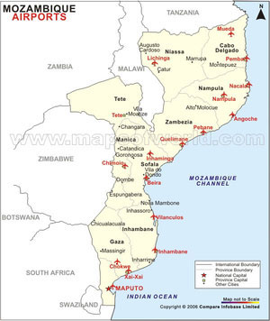 Mozambique Airports Map