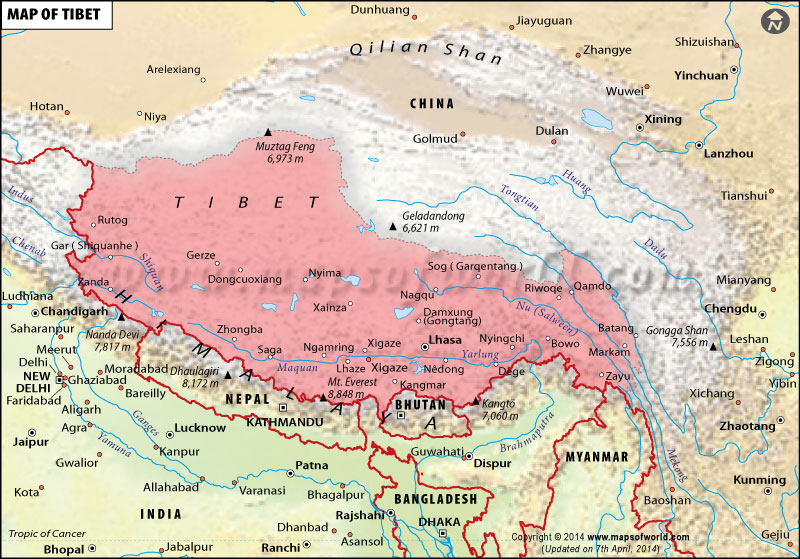 Tibet Map Map Of Tibet - Tibet in world map