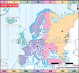 Europe Time Zone Map