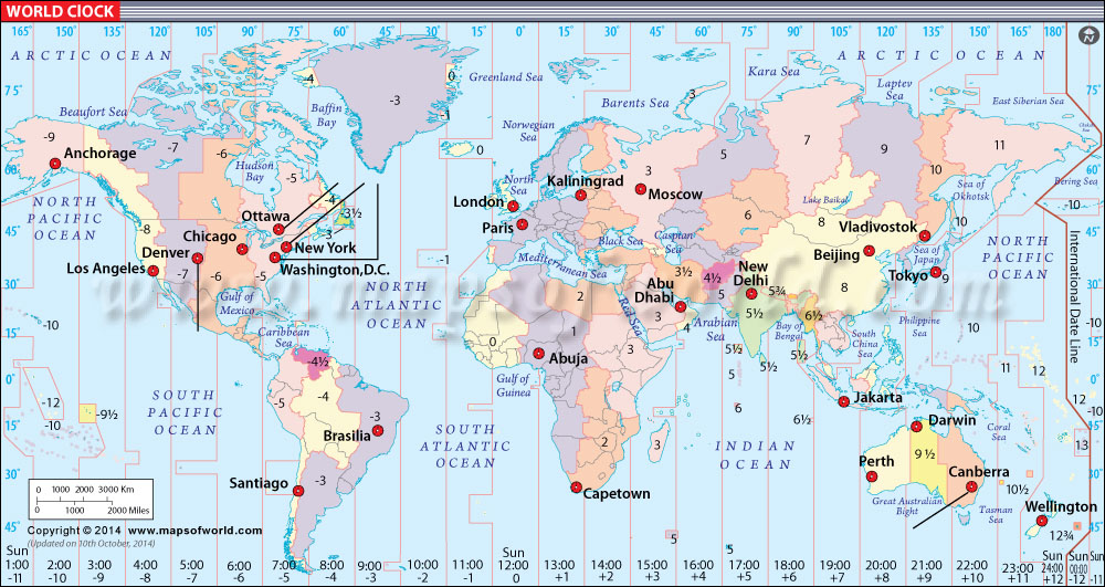 World Clock Map | World Time and Date Map