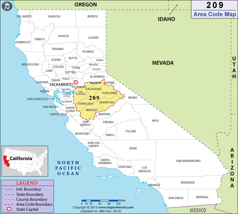 209 Area Code Map 209 Area Code Map, Where is 209 Area Code in California
