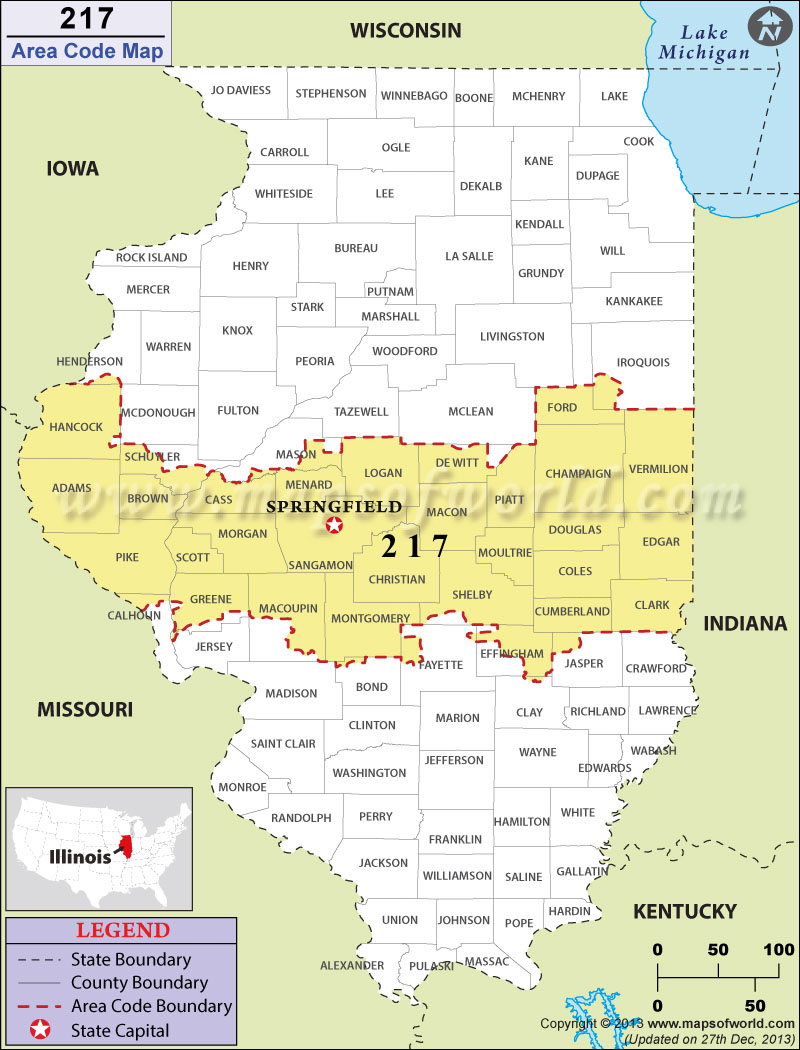 217 Area Codes Map