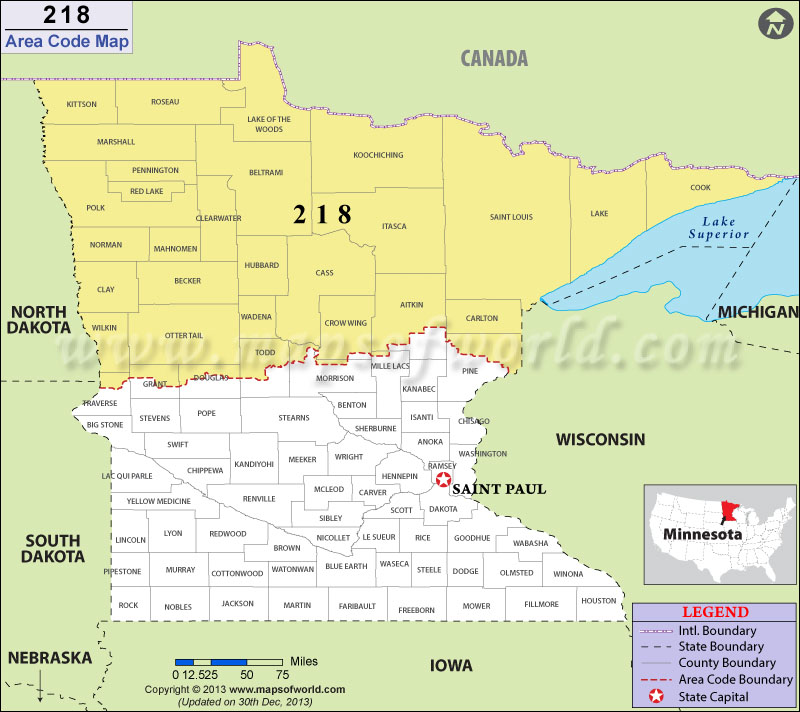 218 Area Codes Map