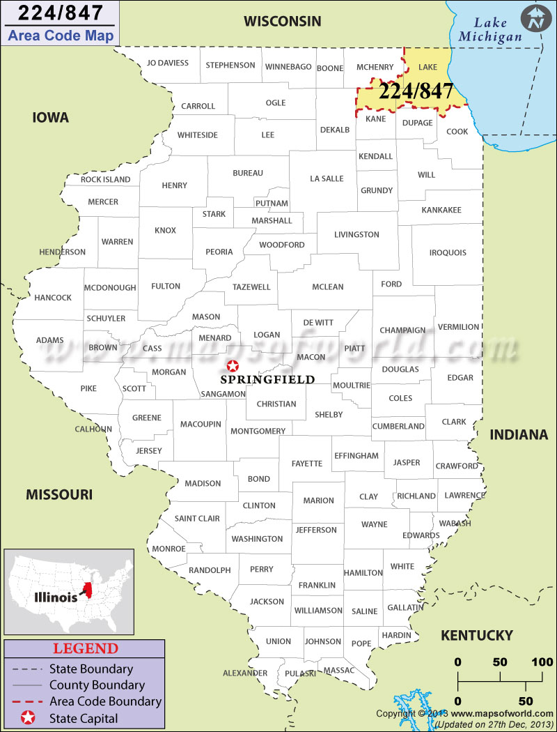 Area Code Map Where Is Area Code In Illinois - Phone code for usa
