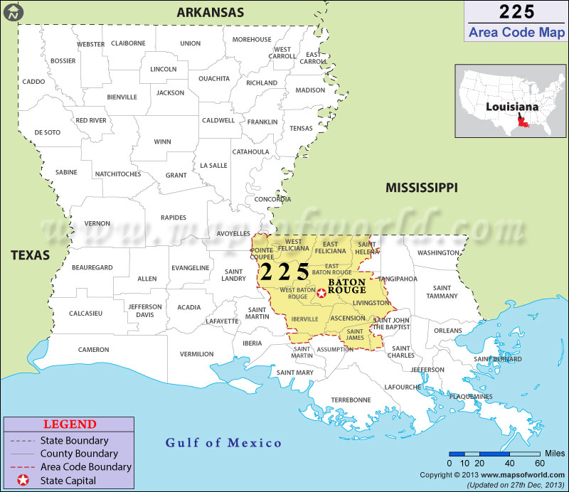 225 Area Codes Map