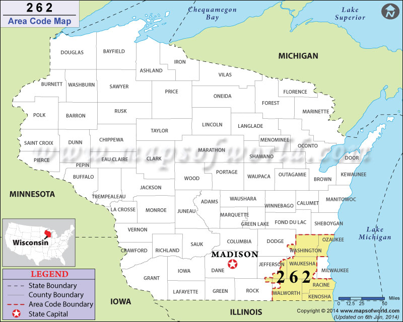 262 Area Codes Map