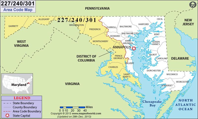 Area Code Map Where Is Area Code In Maryland - Area code 301 in usa
