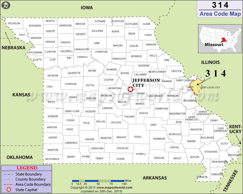314 Area Codes Map