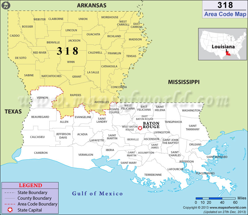 Area Code Map Where Is Area Code In Louisiana - Louisiana area codes
