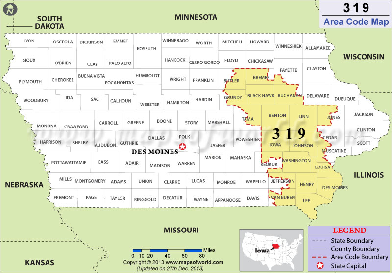 319 Area Codes Map