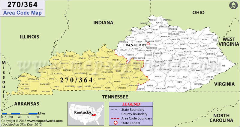 364 Area Code Map, Where is 364 Area Code in Kentucky