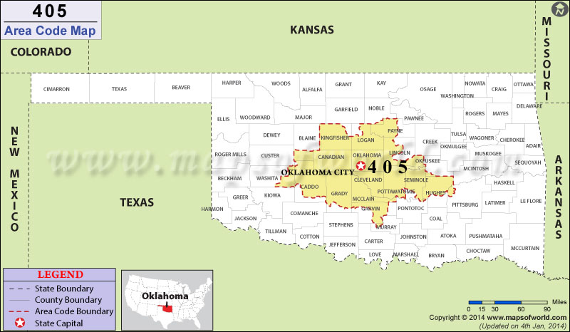 Area Code Map Where Is Area Code In Oklahoma - 405 area code
