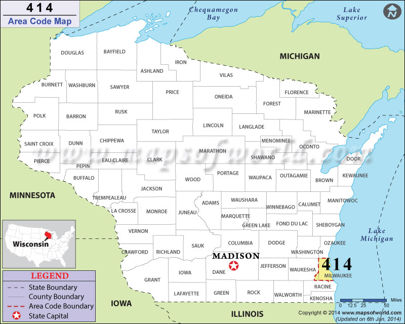 414 Area Codes Map
