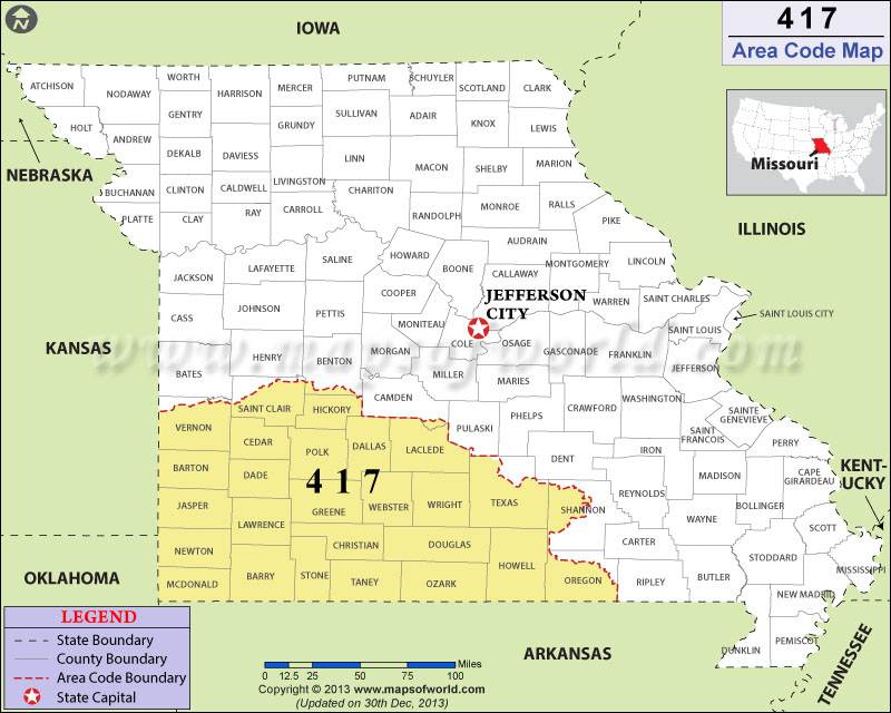 Area Code Map Where Is Area Code In Missouri - Arkansas area code map
