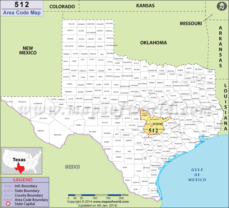 512 Area Codes Map