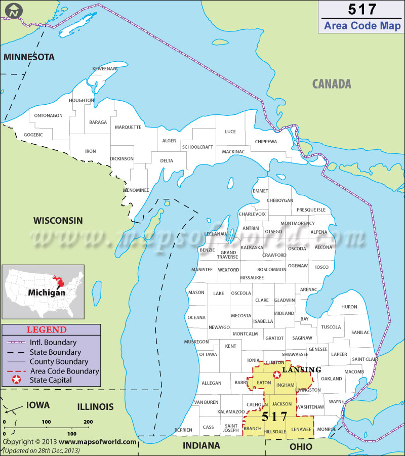 517 Area Codes Map