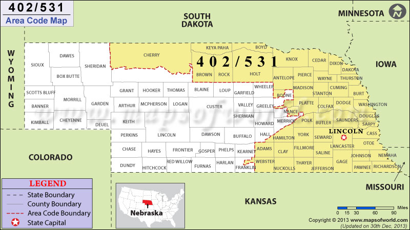 531 Area Codes Map