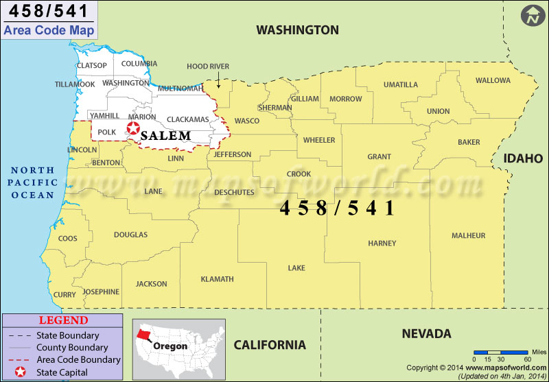541 Area Code Map, Where is 541 Area Code in Oregon