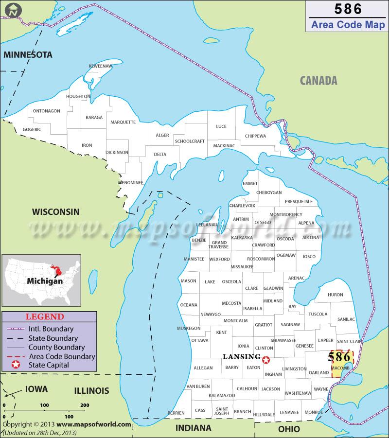Bay City Mi Zip Code Map.586 Area Code Map Where Is 586 Area Code In Michigan