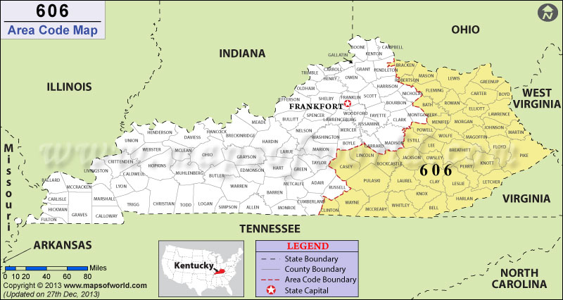 Area Code Map Where Is Area Code In Kentucky - Tennessee area codes