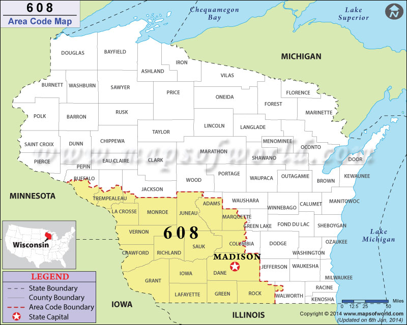608 Area Codes Map