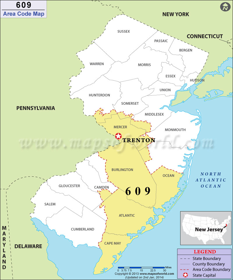 609 Area Codes Map