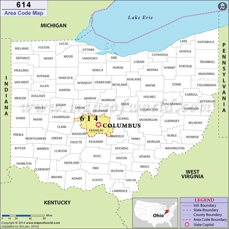 614 Area Codes Map