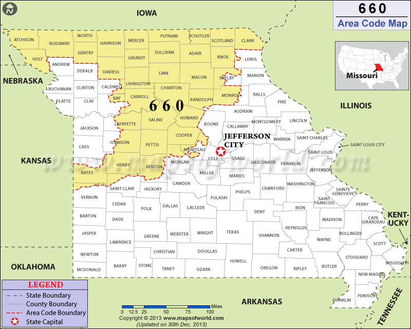 Area Code Map Where Is Area Code In Missouri - Area code 660