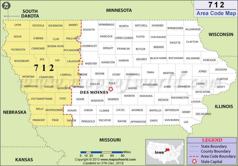 712 Area Codes Map